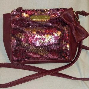 Betsey Johnson Burgundy Pink Sequin Crossbody Bag